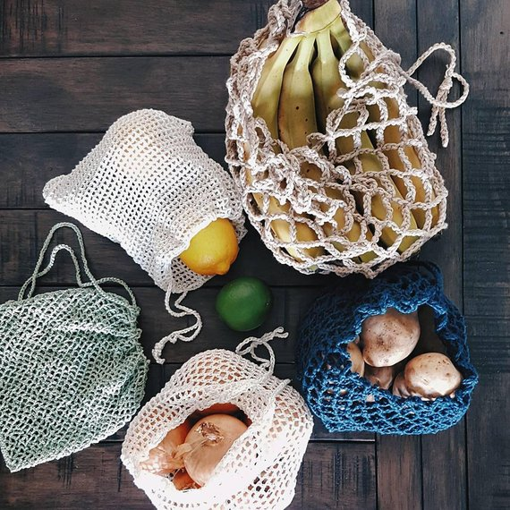 This Is An Instant Pdf Download Of 5 Patterns To Make Crochet Mesh Produce Bags Skill Level Easy Please Do Not Share Produce Bags Mesh Bag Crochet Patterns