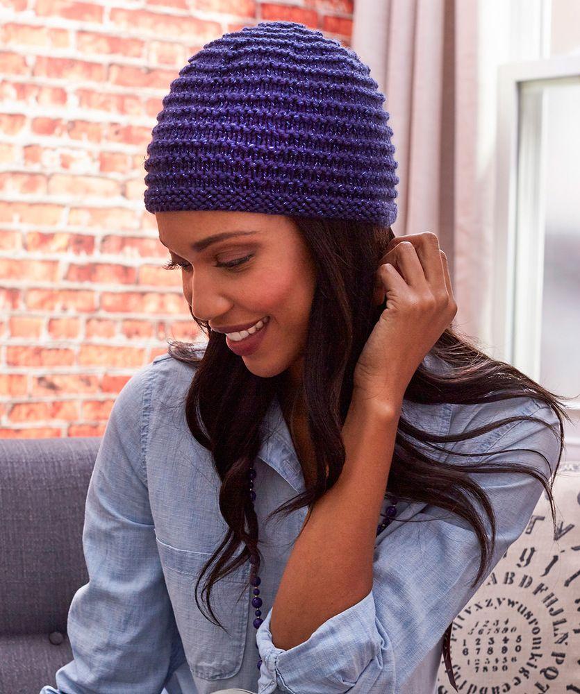 Easy hat knitting pattern. Beginner hat knit pattern. Garter stitch ...