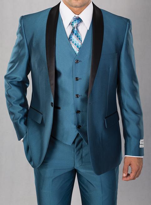 Vittorio Mens Shiny Teal Blue Slim Fit Colorful Tuxedo S6501V | Girl ...