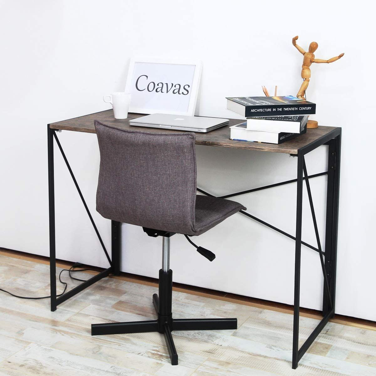 Folding Desk No Assembly Required Brown In 2021 Furniture Kitchen Furniture Storage Industrial Style Desk
