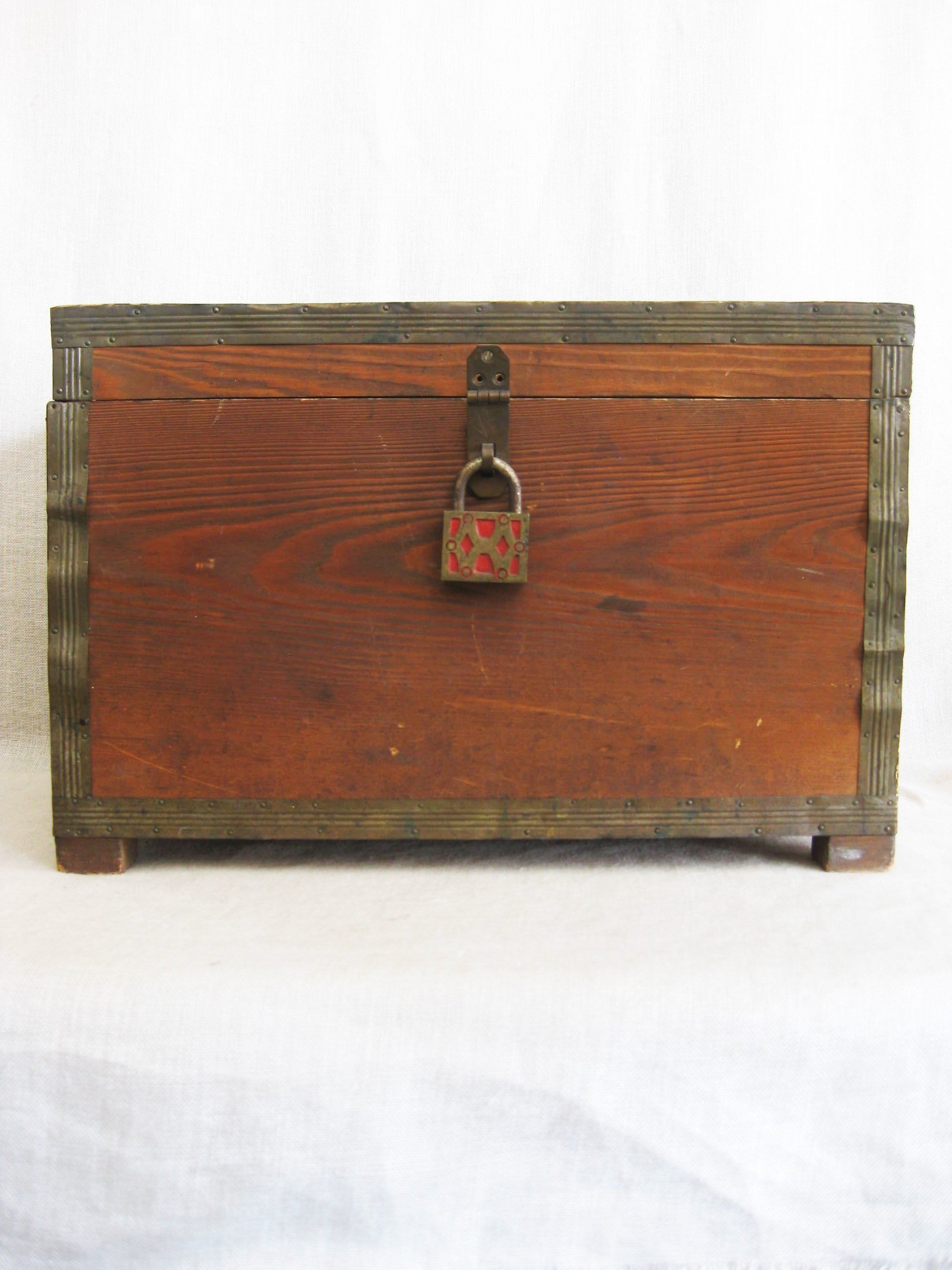 Vintage Handmade Folk Art Ballot Box Antique Pad Lock Small Primitive Chest Trunk Storage Organization W Wooden Boxes Old Wooden Boxes Rustic Cabin Decor