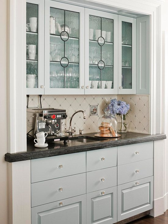 Things We Love Chic Coffee Bars Design Chic Glass Cabinet Doors Glass Kitchen Cabinets Glass Fronted Kitchen Cabinets