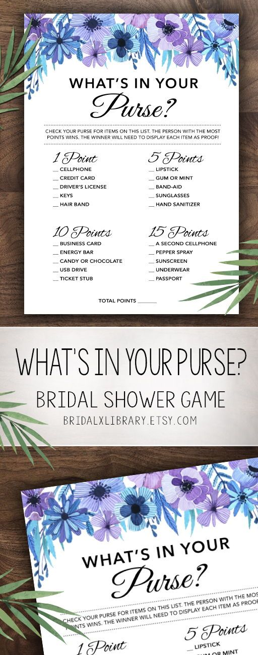 Whats in Your Purse, Bridal Shower Games Printables, Bridal Shower Game, Bridal Shower Instant Download, Wedding Game, Watercolor Flowers