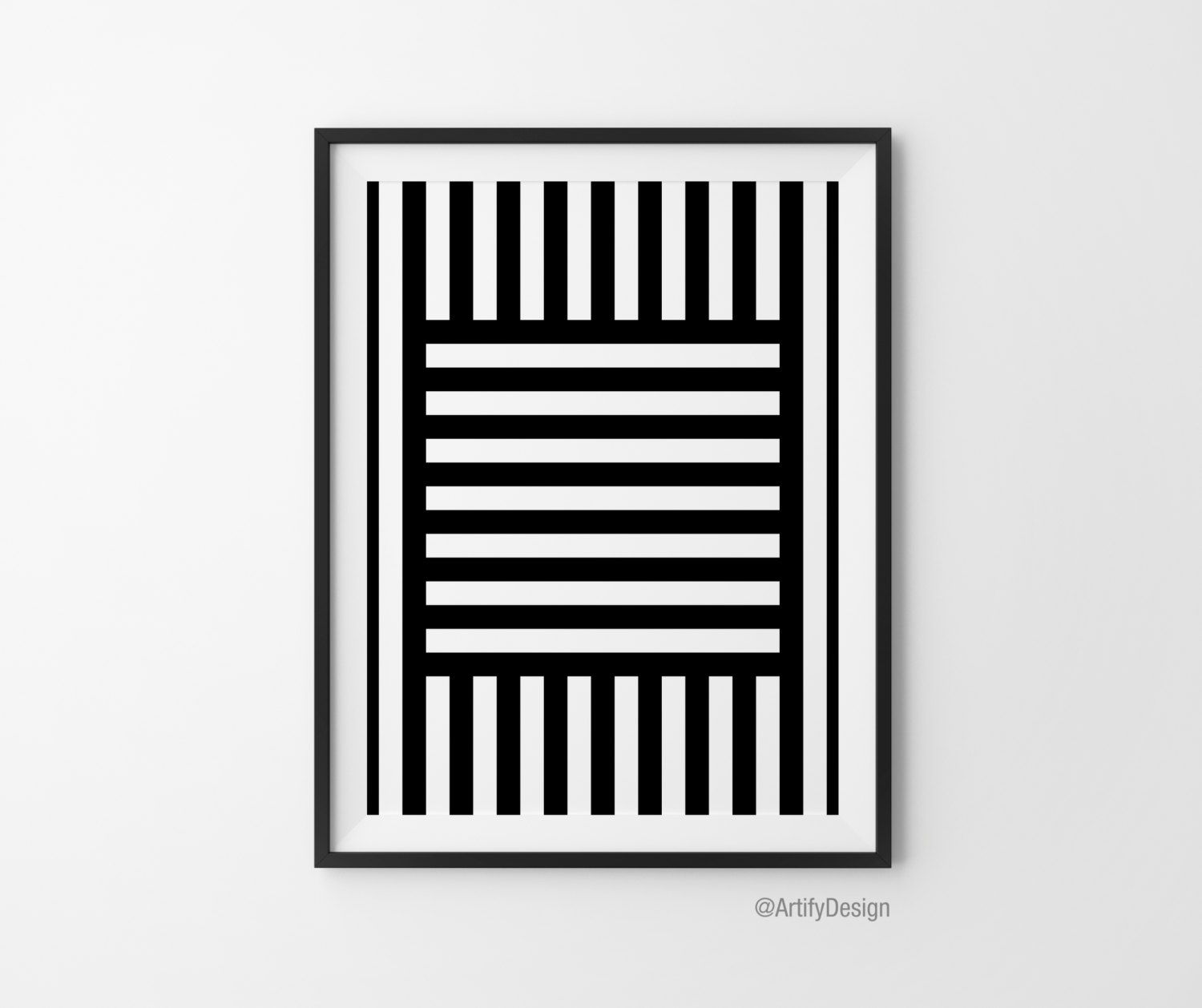 Abstract art geometric art black u white wall art prints