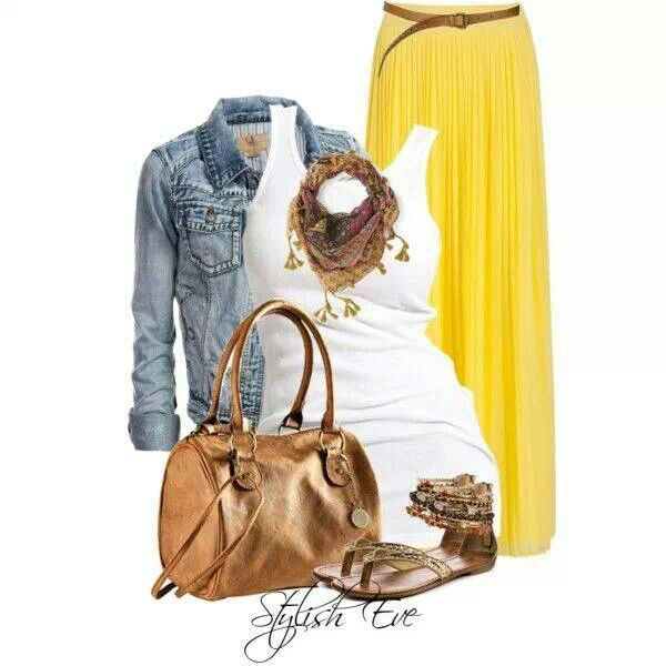 Yellow maxi skirt outfit idea (minus the gold purse and gold ...