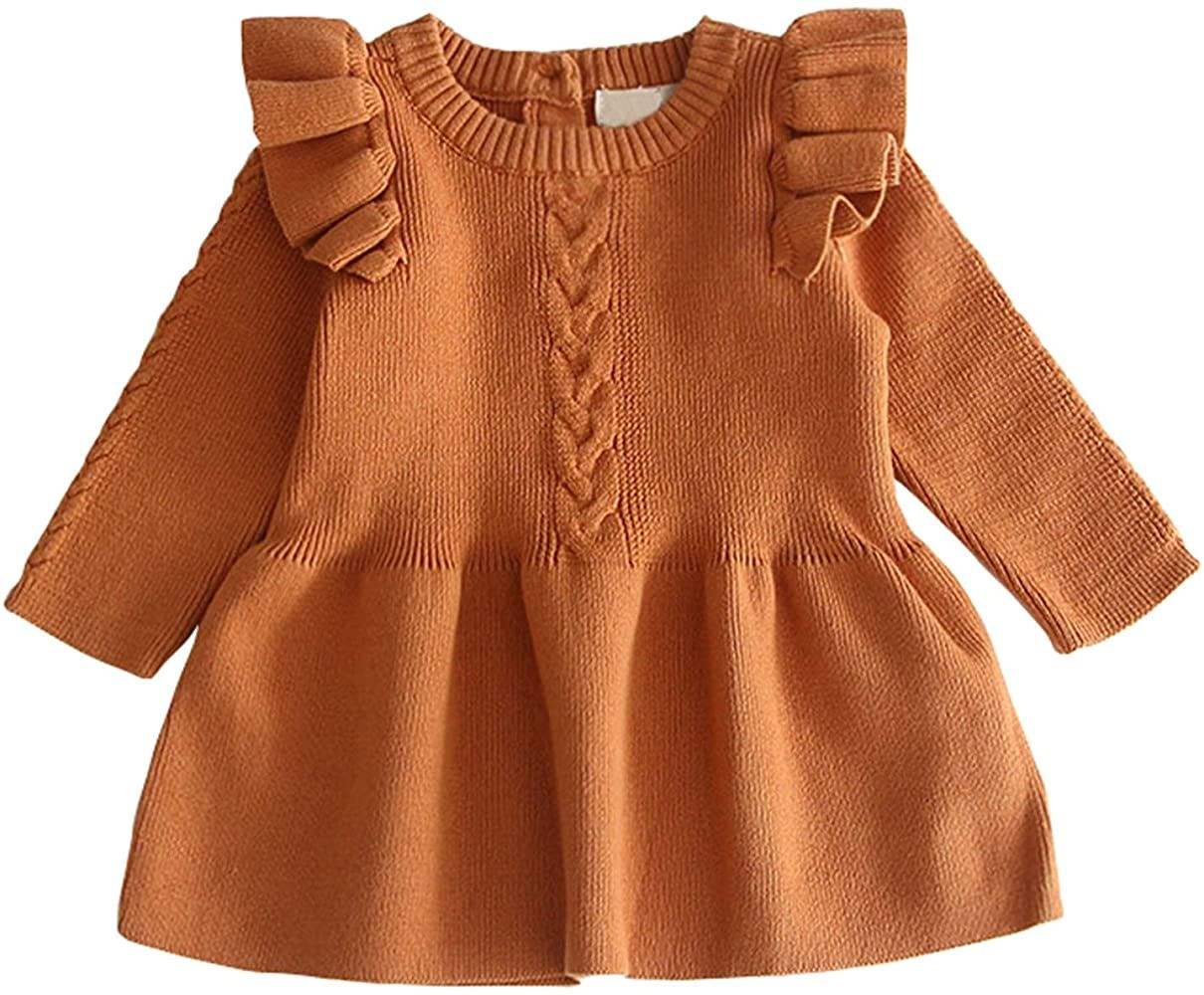 Amazon Com Baby Girl Ruffle Knit Dress 1st 2nd Birthday Long Sleeve Knitted Tulle Tutu Dresses For W In 2020 Knit Sweater Dress Winter Warm Outfits Toddler Knit Dress [ 1000 x 1210 Pixel ]