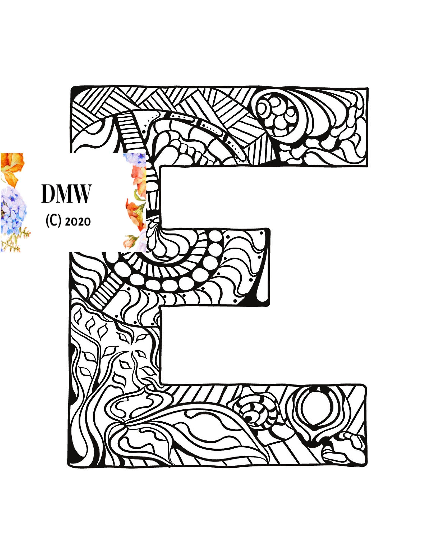 Printable Coloring Page Alphabet Letter E Doodle Instant Etsy In 2021 Coloring Letters Alphabet Coloring Pages Mandala Coloring Pages