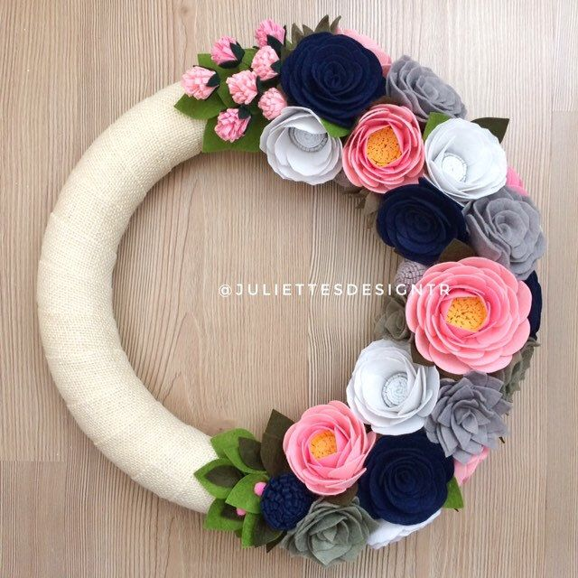 Photo of Spring Wreath, Easter Wreath, Summer Wreath, Felt Wreath, Felt Easter Wreath,  Wreaths, Wreath Spring, Wreath Pink, Navy Blue and Pink Wreat