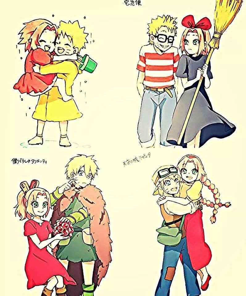 Naruto and Sakura crossover with Studio Ghibli. Too cute