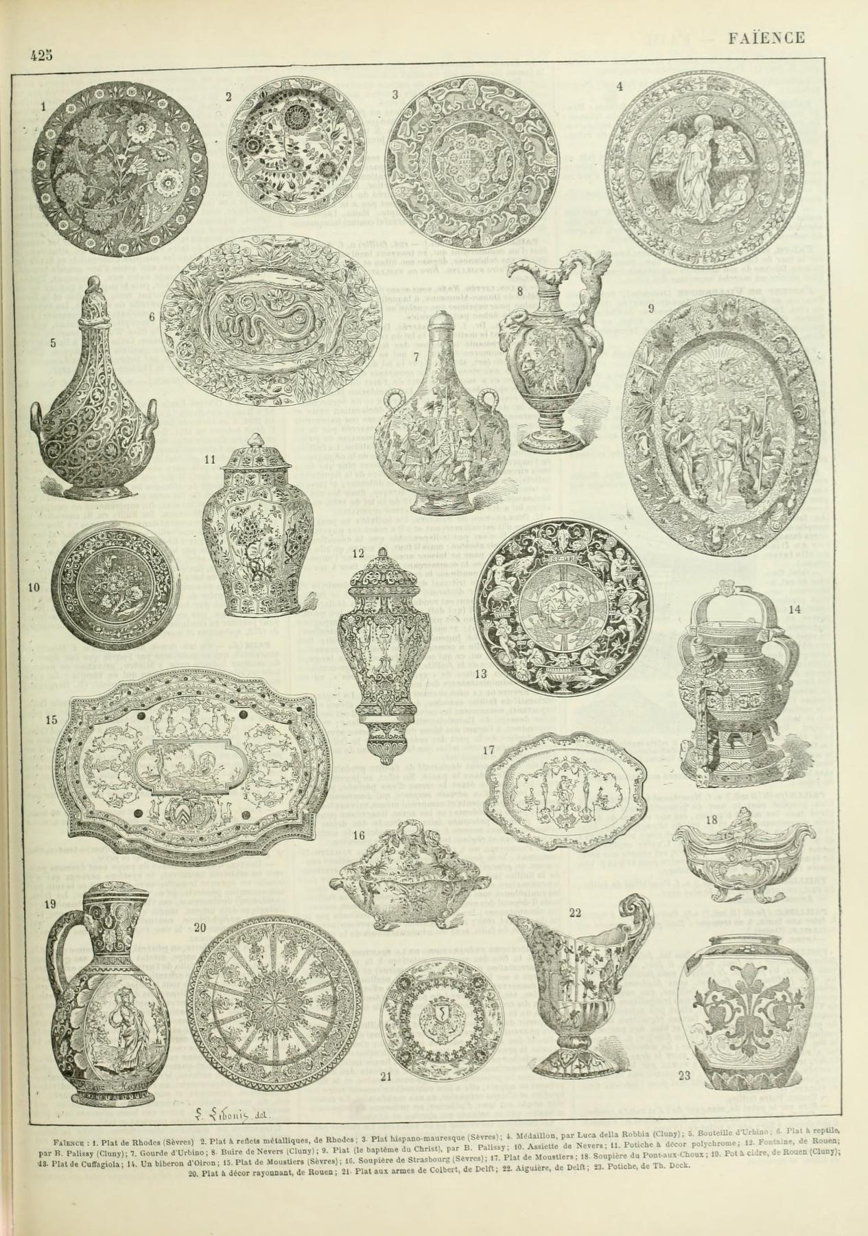 Nouveau Larousse Illustre Faience Antique Prints Greek Art Lithograph