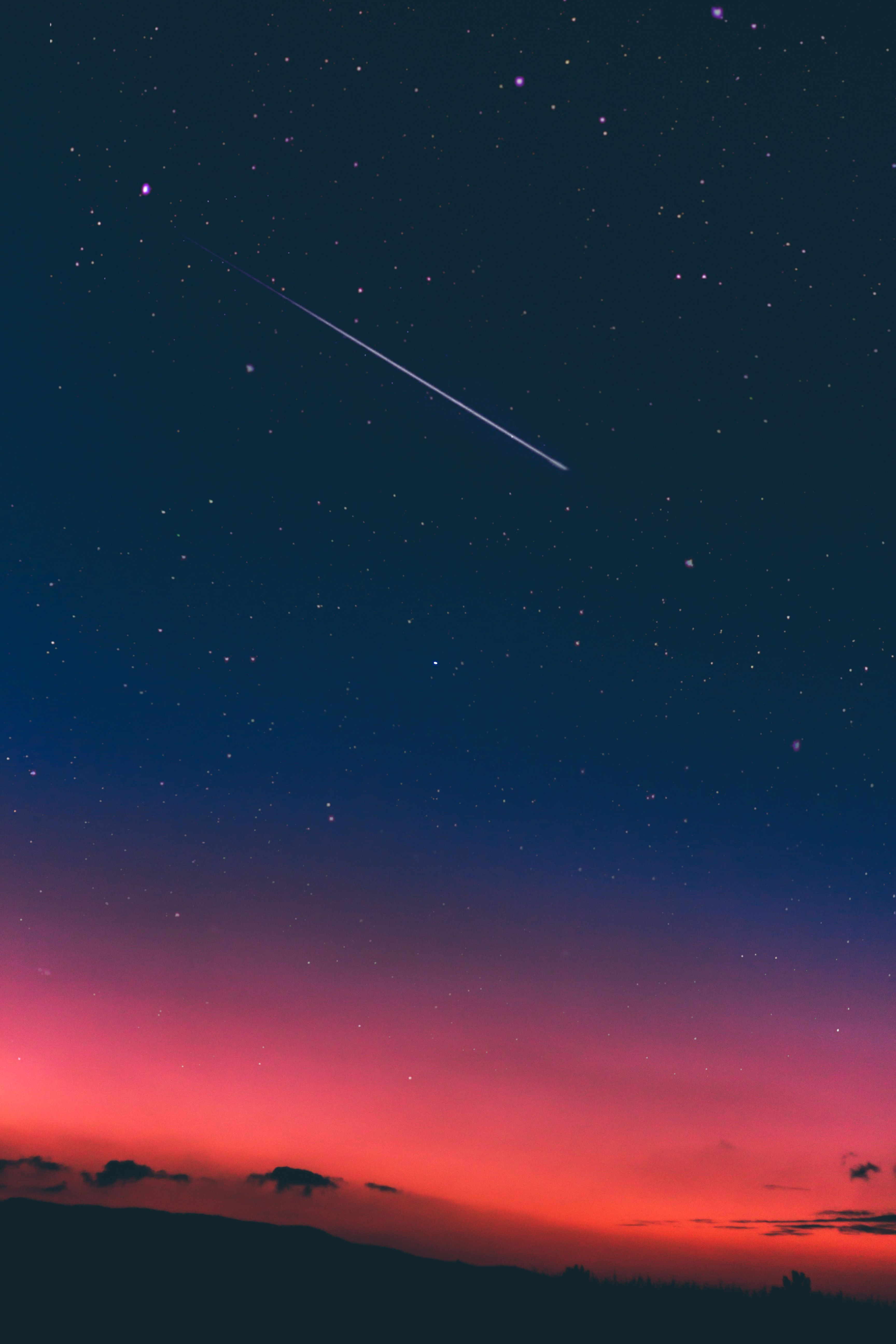 Night Sky With Shooting Star Tags Pink Blue Deep Sunset Comet Stars Starry High Resolution Night Sky Photos Night Sky Wallpaper Shooting Stars