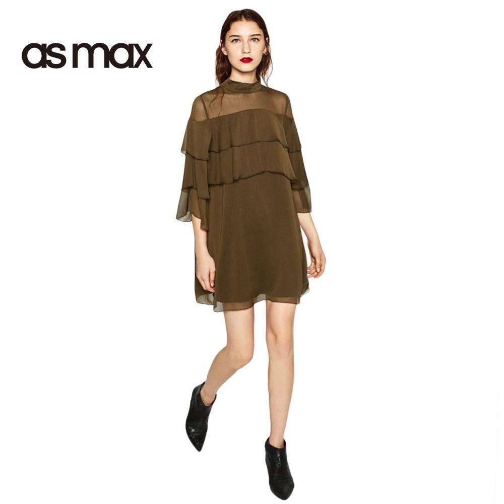 Asmax 2017 Solid Color Lace Up Mini Dress Women Ruffle Three Quarter Sleeve Dress High Waist O Neck Cheap Dresses Casual Chiffon Ruffle Dress Green Shirt Dress [ 1000 x 1000 Pixel ]