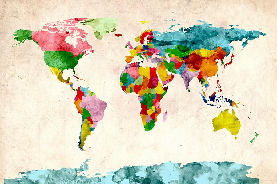 I love all of these world map watercolors digital art world map world map watercolors by michael tompsett gumiabroncs Image collections