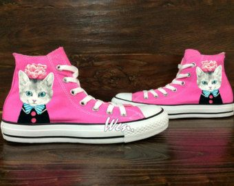 WEN Original Design Cat Converse Pink Converse Hand Painted Shoes,Converse All Star,Painted Custom Pink Shoes Custom Converse Canvas Shoes
