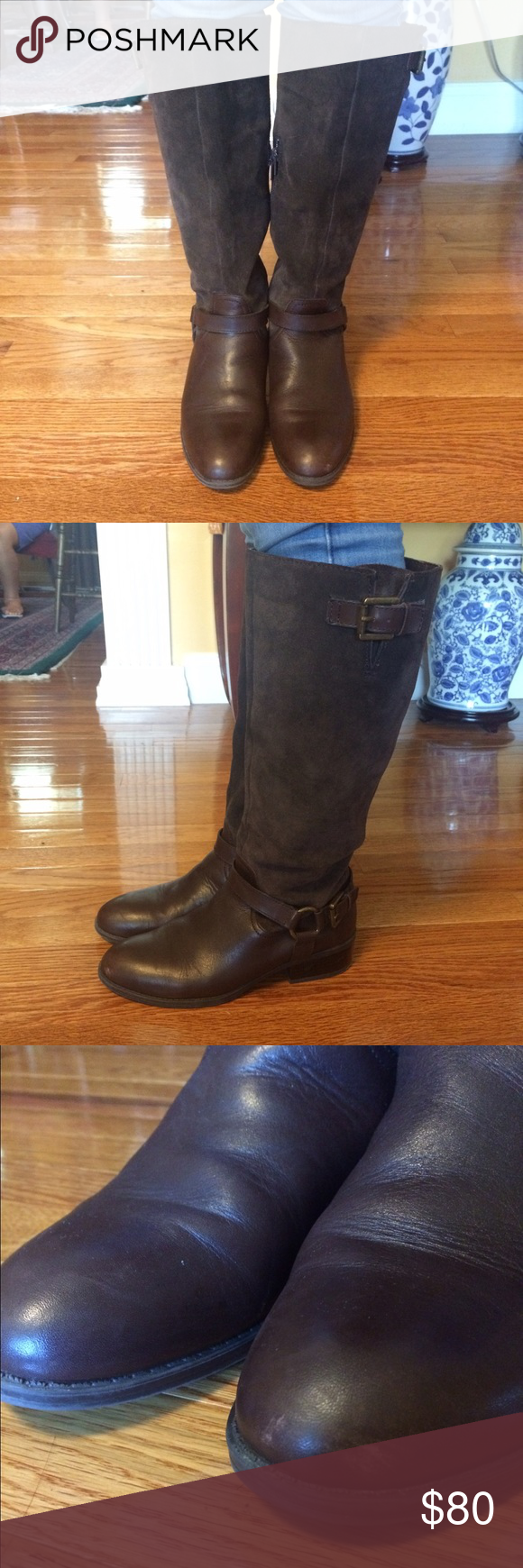 "LAUREN by Ralph Lauren McLeod Riding Boot Selling dark brown LAUREN by Ralph Lauren McLeod Riding Boots. Size 7. Slight wear on the soles and pictured scratch on left toe. Leather with Suede shaft. Heel height is about 1.25 inches. Tumbled calf upper, side zipper, leather lining and lightly cushioned footbed. 16"" shaft, 15"" circumference. Comes with original box and tissue. Make an offer if interested! Lauren Ralph Lauren Shoes Heeled Boots"