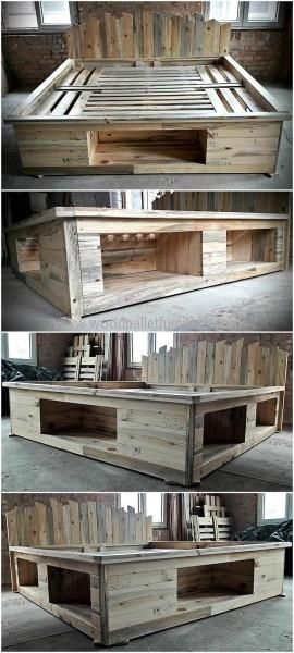 Repurposed Pallets Bed Frame with Storage Option | Camas de ...
