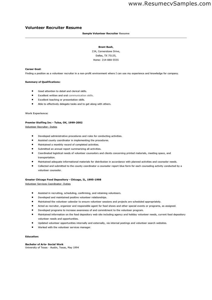Sample Resume Recruiter Resume Examples Volunteer  Sample Resume And Resume Examples
