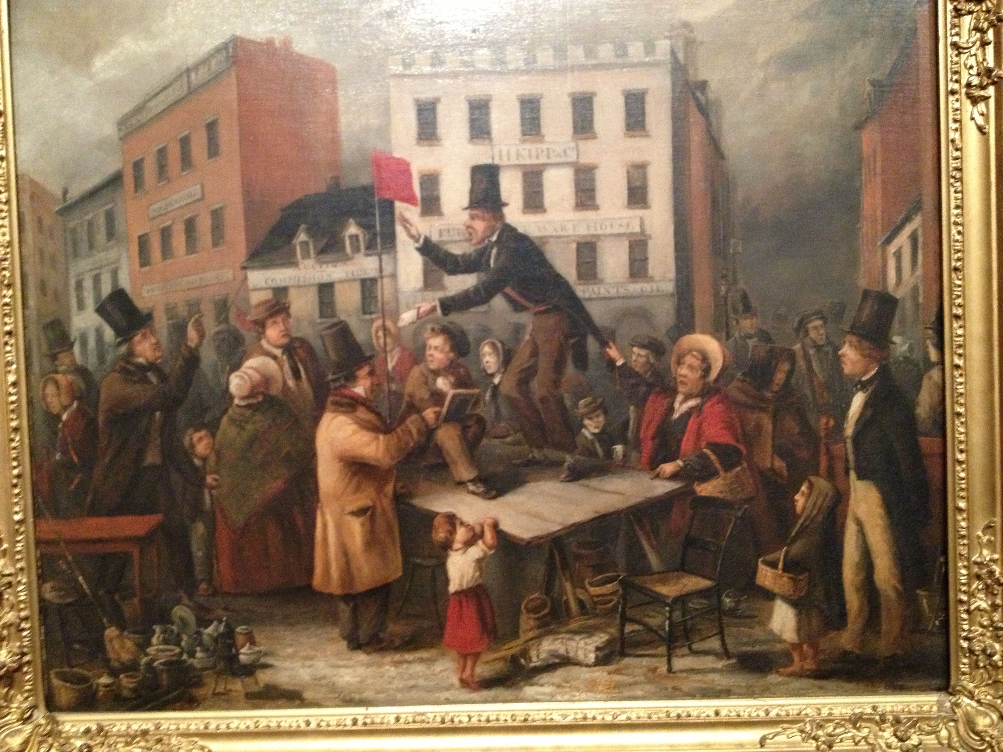Auction in chatham st 1843 painting art scenes