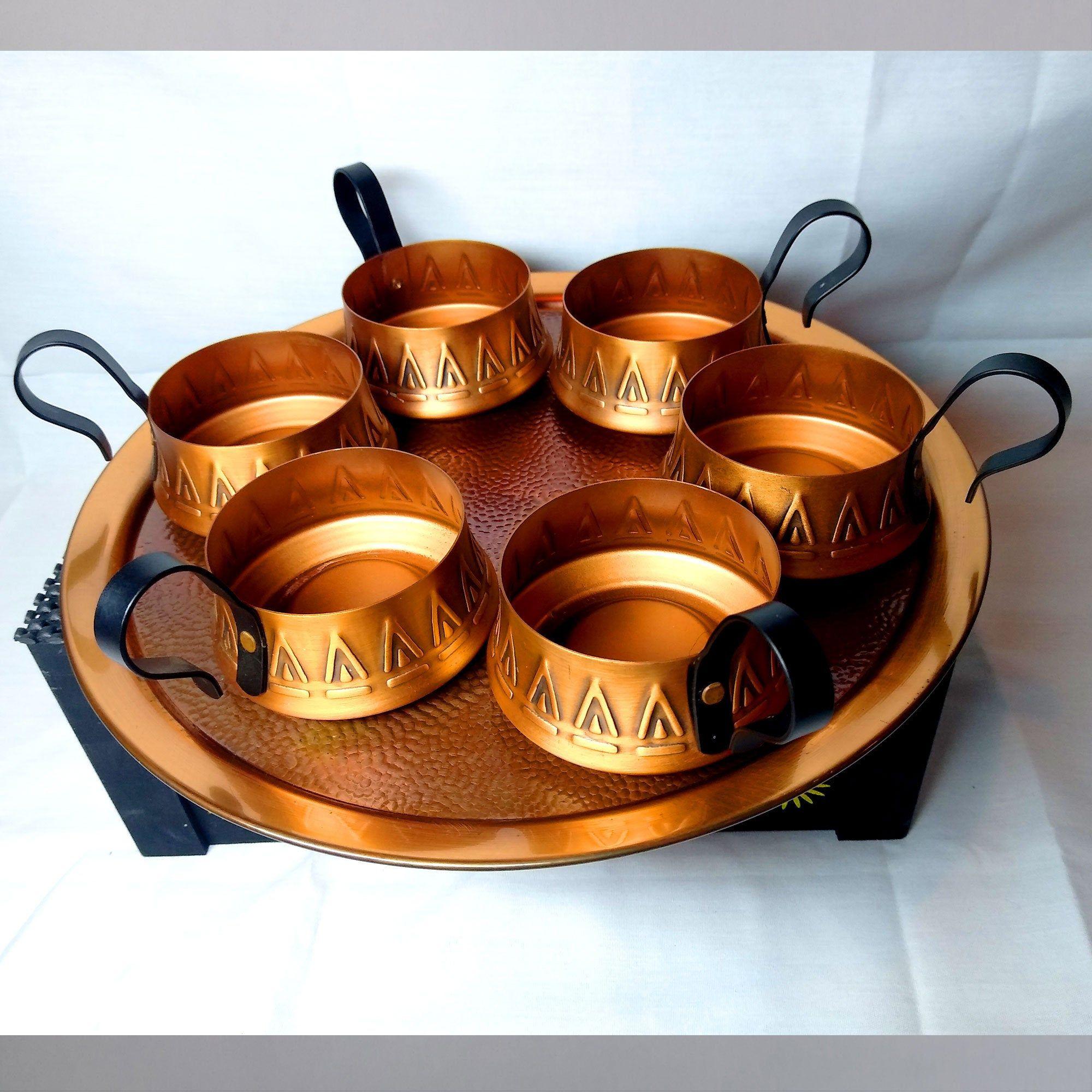 Copper tea set copper cups copper decor copper tray