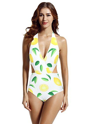 e6e4e8fe9c503 zeraca Women s Surplice Neckline High Waisted Halter One Piece Monokini  Swimsuit (Lemon