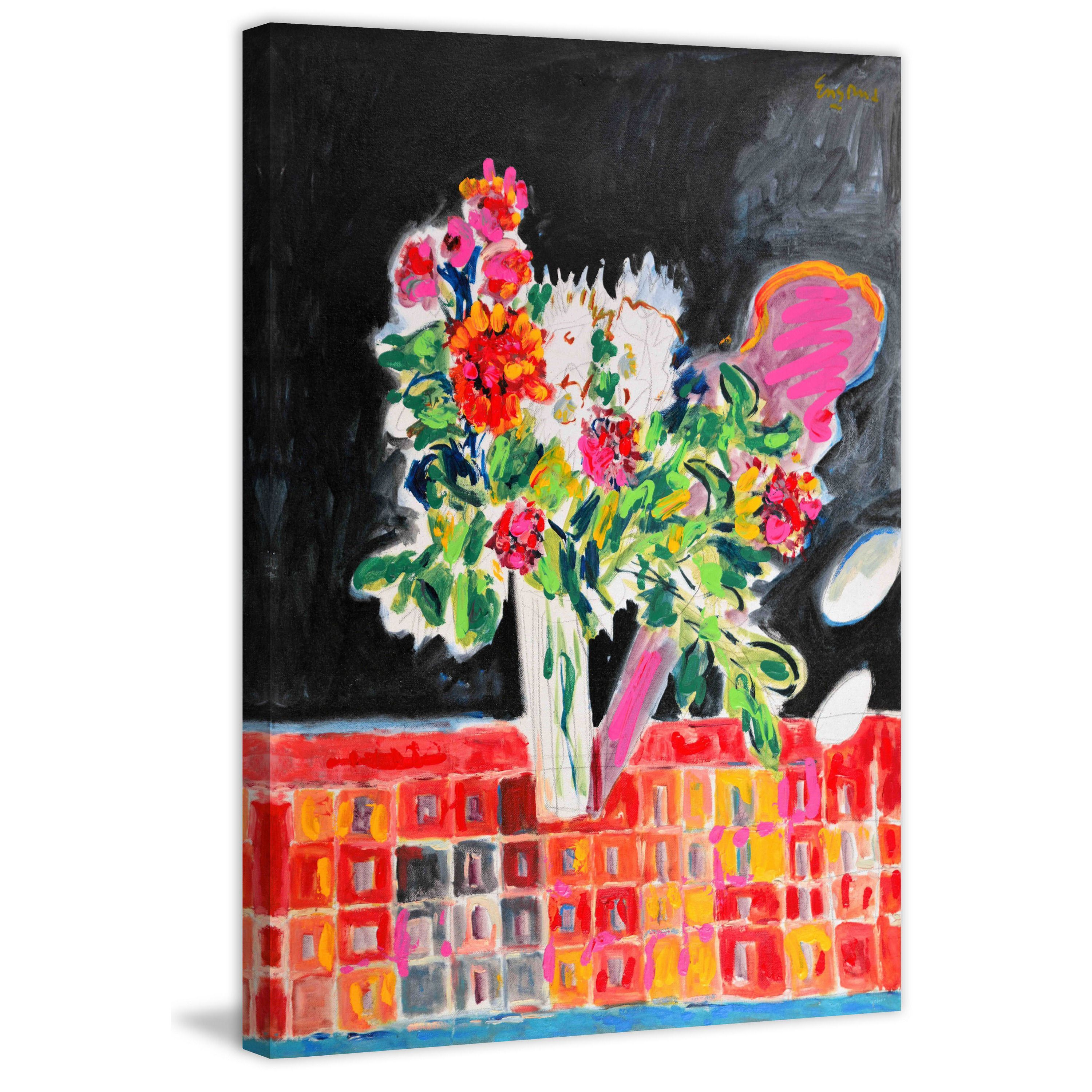 Marmont Hill - 'Flowers on a Checkered Cloth' by Michael Woodward Painting Print on