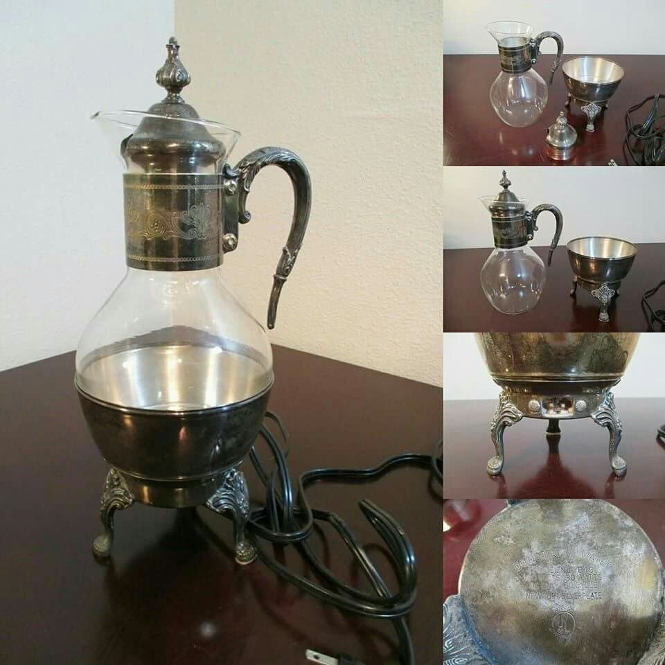 Vintage Electric Coffee Pot Carafe Drink Warmer Newport Silver Plate 100 Vintage Carafe Collectible Our Sister Co S Coffee Pot Water Modeling Carafe