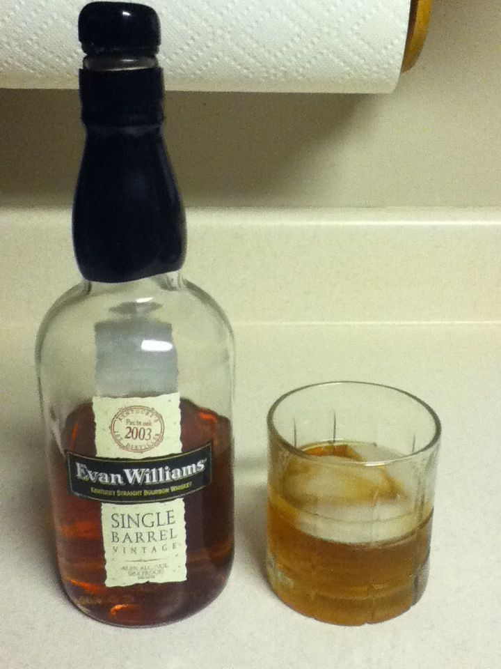 Evan Williams Single Barrel Vintage 2003 bourbon. Aged 10 years. This stuff is super smooth and super delicious.
