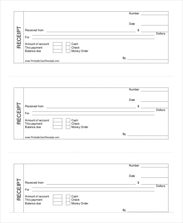 Printable Cash Receipt Template Cash Receipt Template to Use and – Blank Receipt Template