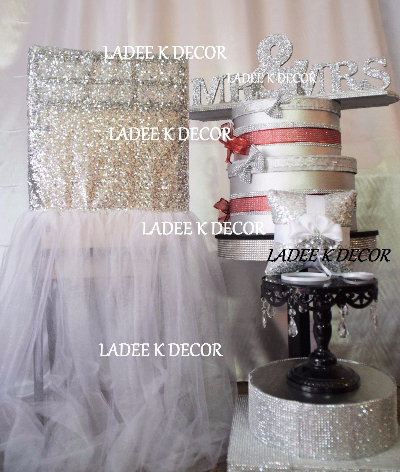 Details about Chair Covers Sequin TuTu Chiavari SET OF 2 Wedding