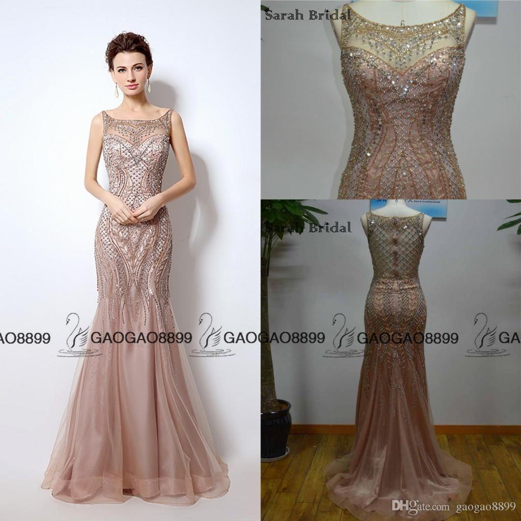 575b097a34b4b Great Gatsby Vintage Blush Luxury Beaded Mermaid Evening Dresses ...