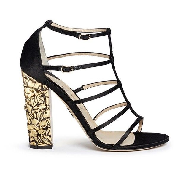 Paul Andrew 'Oralie' gold plated floral engraved heel satin sandals ($1,225) ❤ liked on Polyvore featuring shoes, sandals, black, kohl shoes, black sandals, floral print shoes, floral shoes and black floral shoes