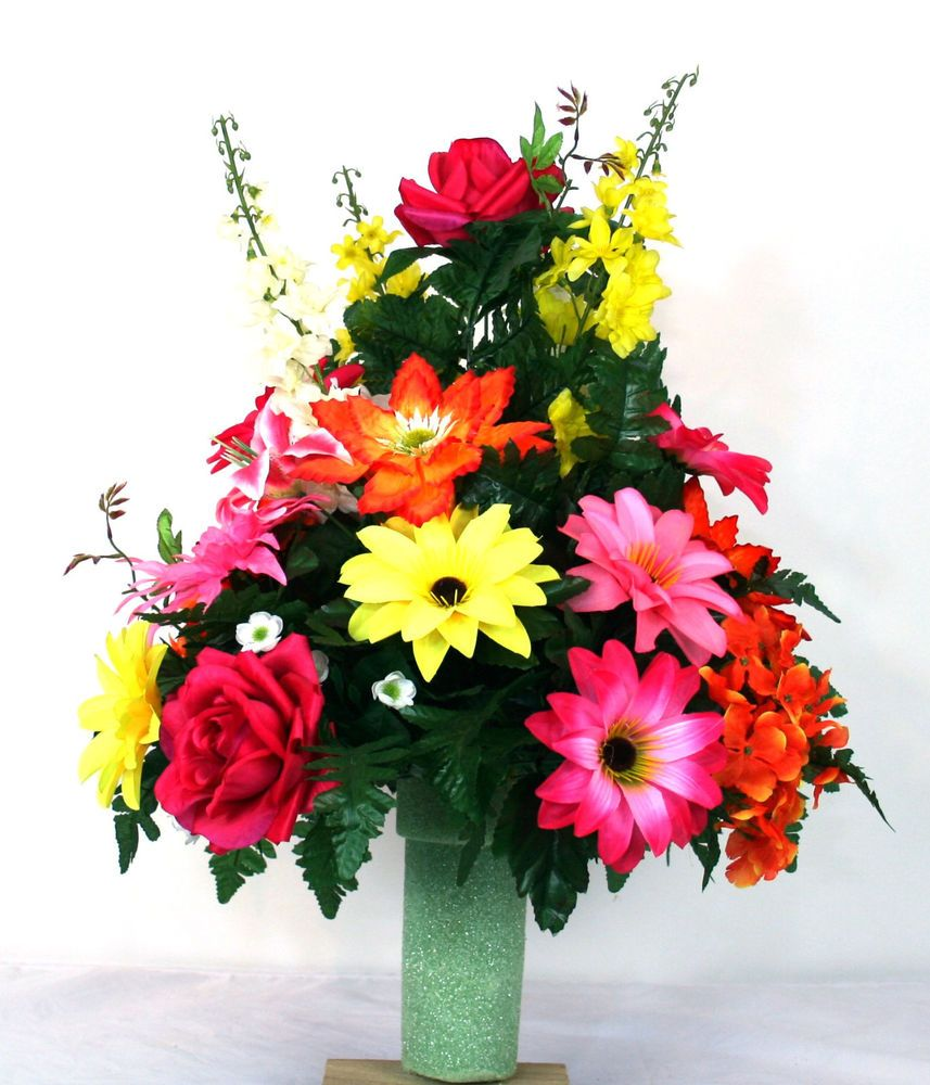 Beautiful Spring Flower Cemetery Vase Flower Arrangement Floral Arrangements Flower
