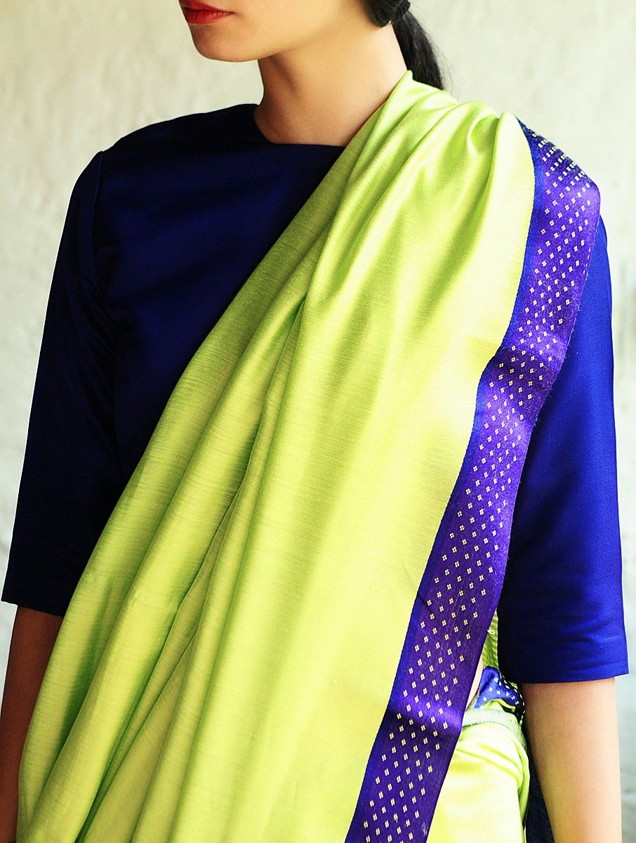 Nasreen Neon Green-Blue Cotton-Silk Saree By Raw Mango - Buy Sarees > Woven Sarees > Nasreen Neon Green-Blue Cotton-Silk Saree By Raw Mango Online at Jaypore.com