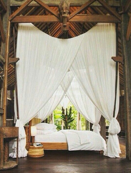 Tropical bedroom c leste celestial white canopy bed for Tropical canopy bed