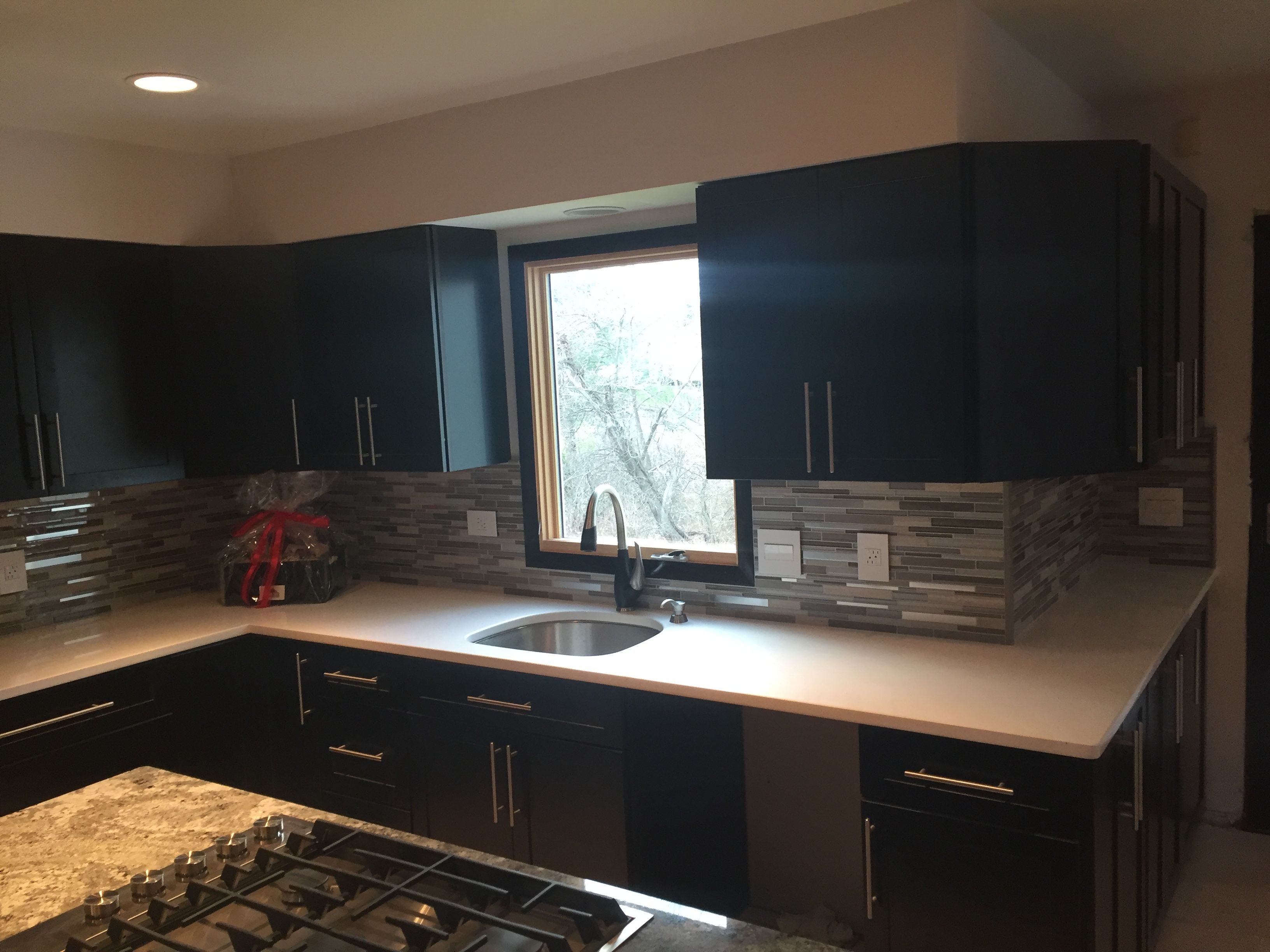 We Installed Ebony Kitchen Cabinets With Gl Mosaic Tile Backsplash Under Mount Sink Quartz