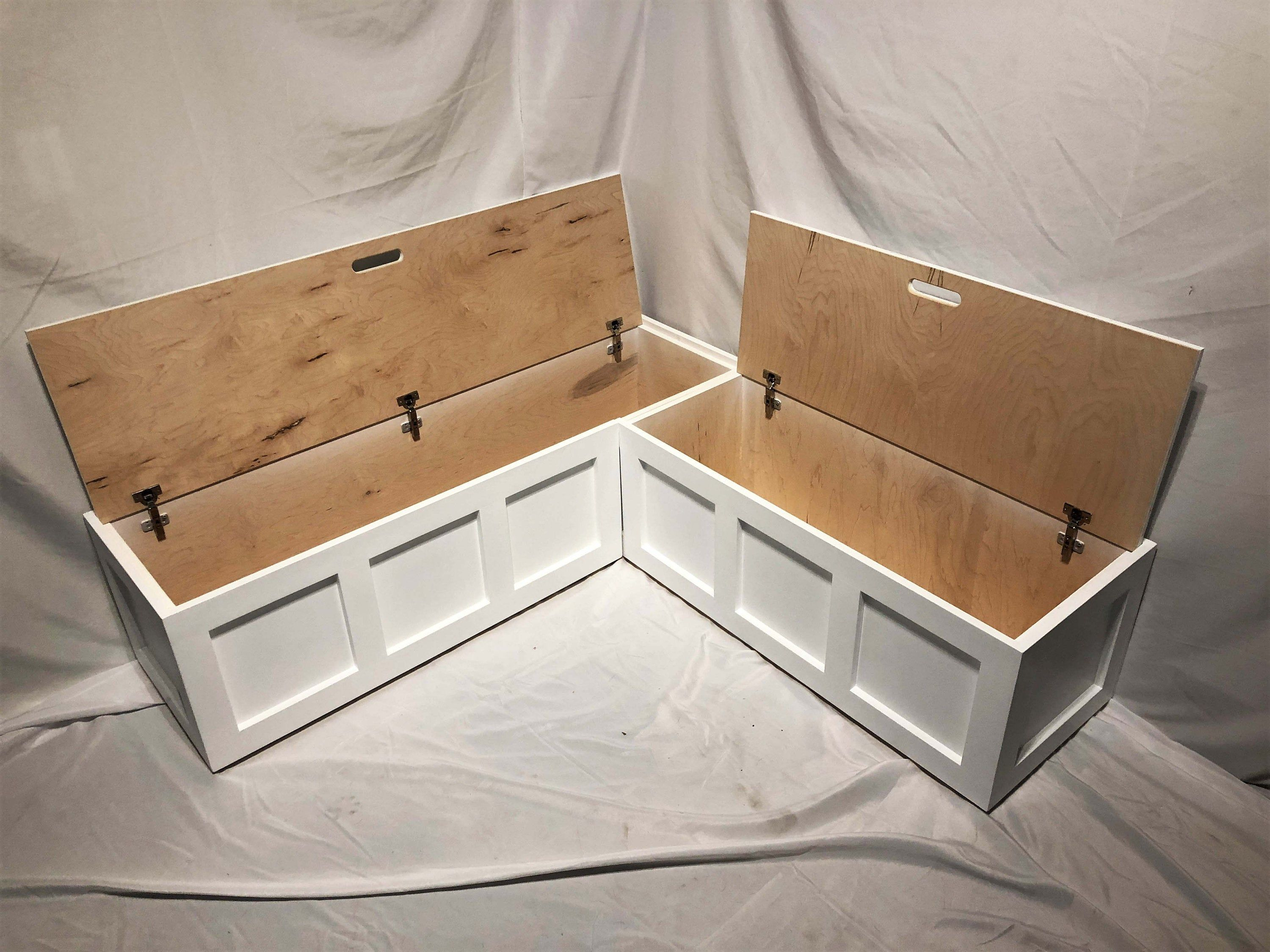 Corner Bench Set Shaker Banquette Bench Top Opening Etsy In 2020 Kitchen Nook Bench Banquette Seating In Kitchen Kitchen Corner Bench