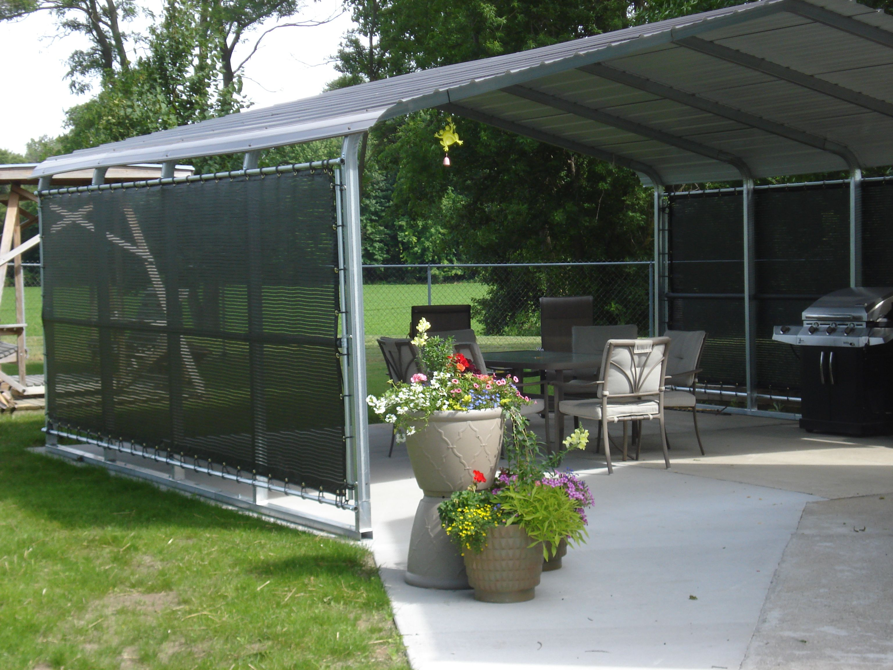 A Shade Screen For The Patio Adds Comfort To Backyard Seating Www Windscreensupply Net Carport Shade Backyard Seating Shade Screen