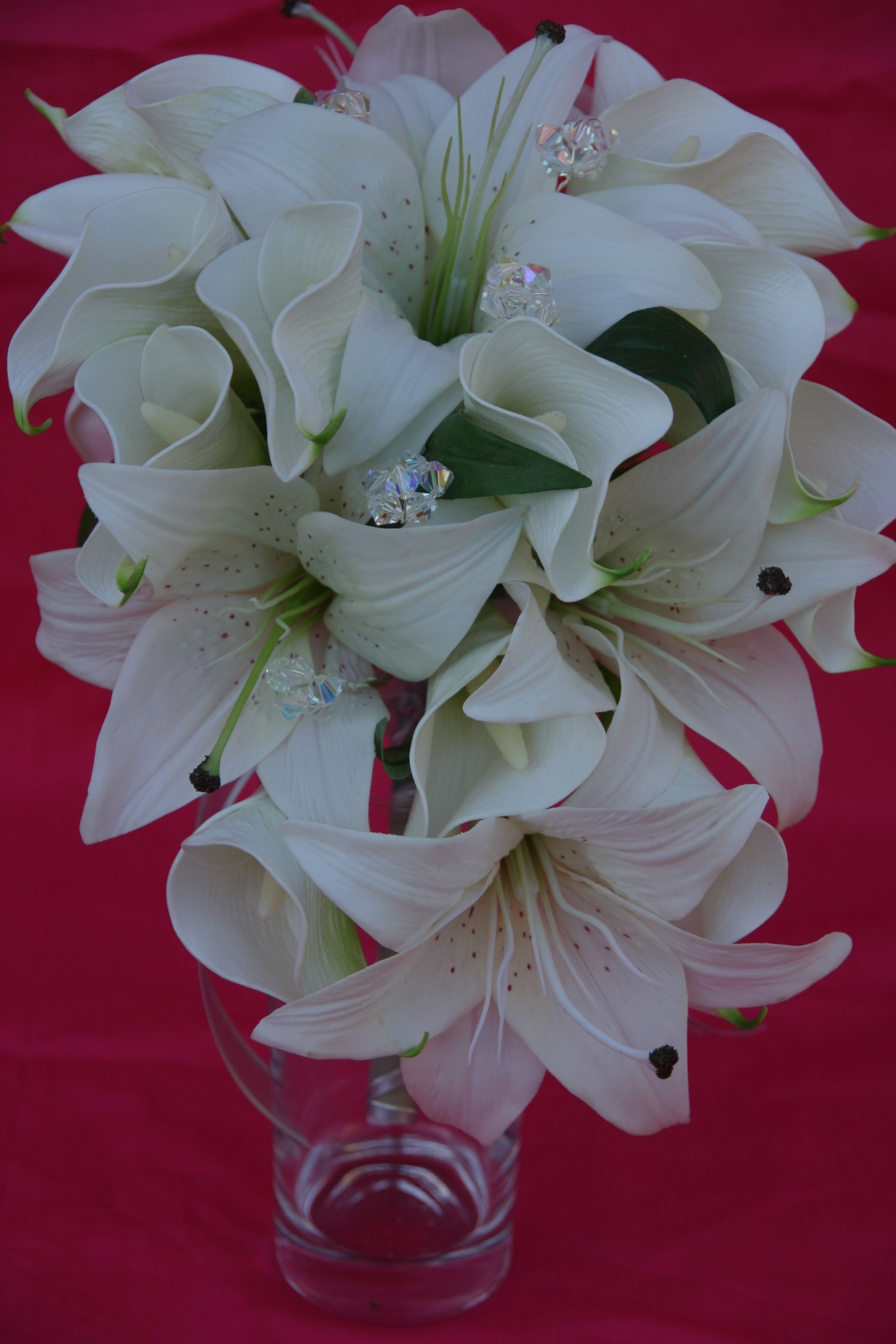 White Tiger Calla Lily Teardrop Bouquet With Bling Lily