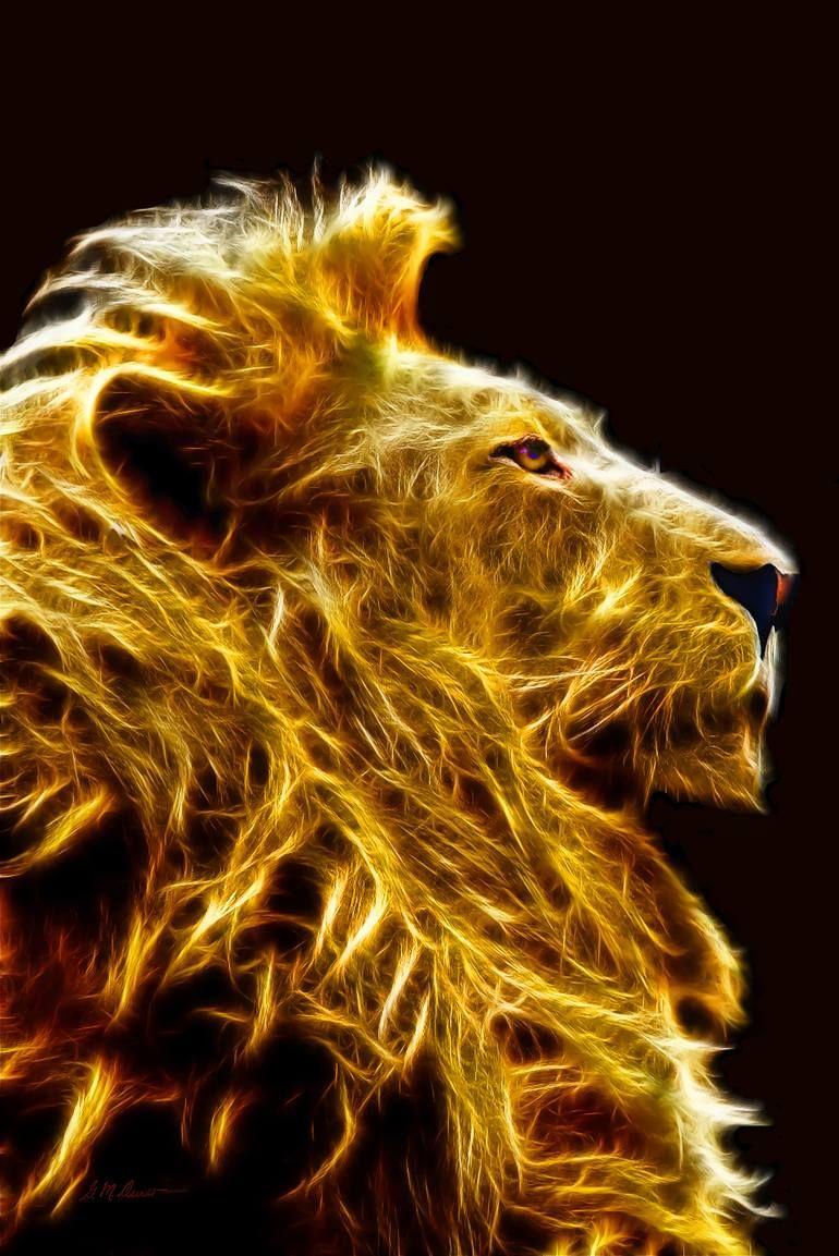 Original Animal New Media by Michael Durst   Figurative Art on Canvas   Fire Lion