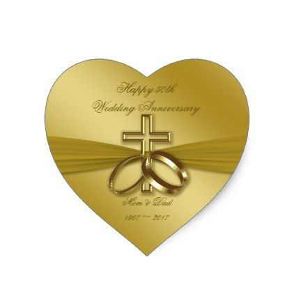 Awesome Religious Golden 50th Wedding Anniversary Sticker