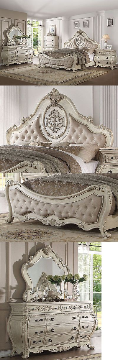 Bedroom Sets 20480 New Traditional Antique White 5 Pieces Bedroom