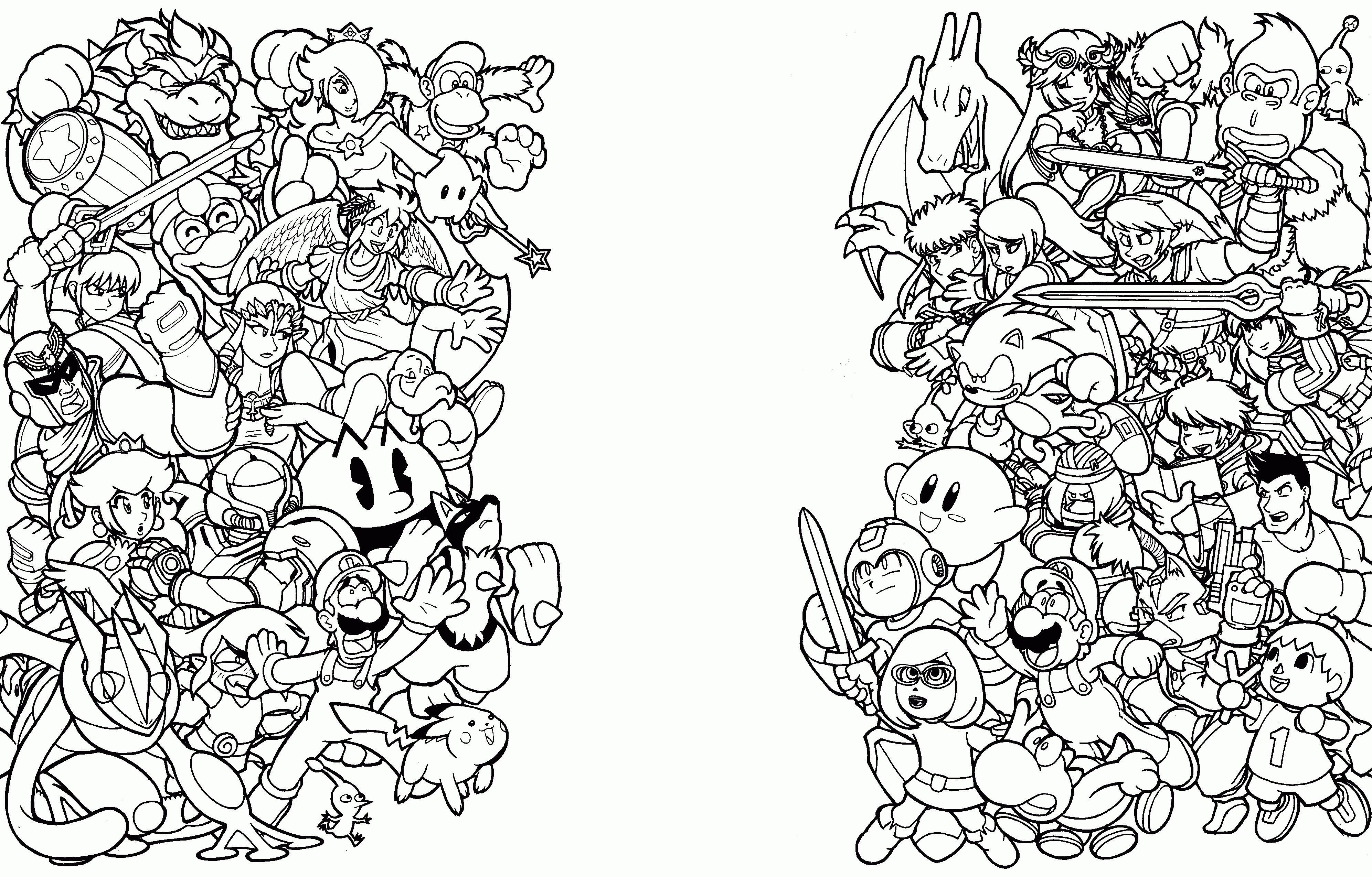 Super Smash Bros Coloring Pages Freecolorngpages Co With