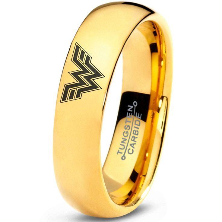 Wonder Woman Inspired 18k Yellow Gold Tungsten Dome Ring Wonder