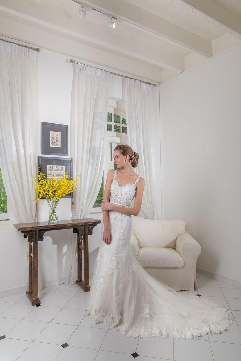 Full lace see through bodice mermaid wedding dress bridal gowns