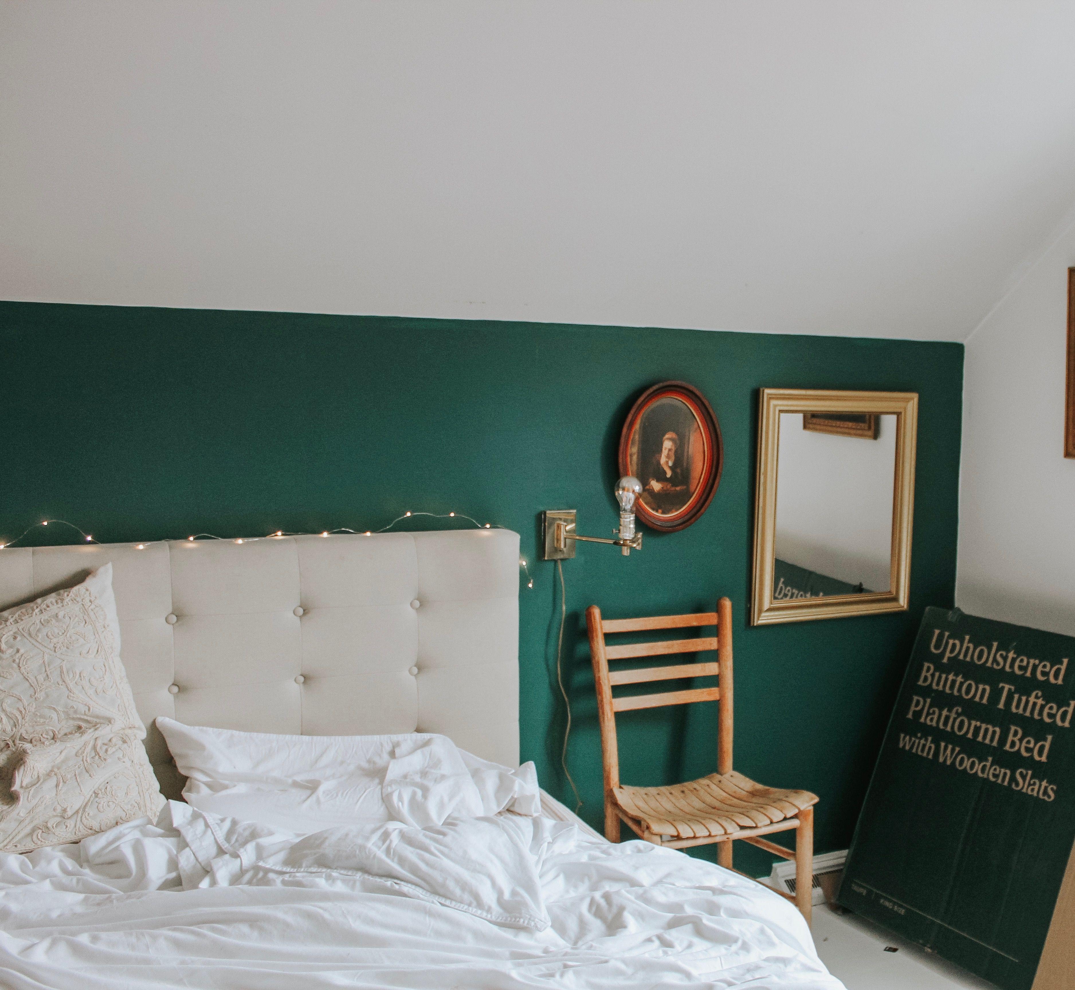 Dark Green Accent Wall With Neutral Bedroom Design Bedroomgoals