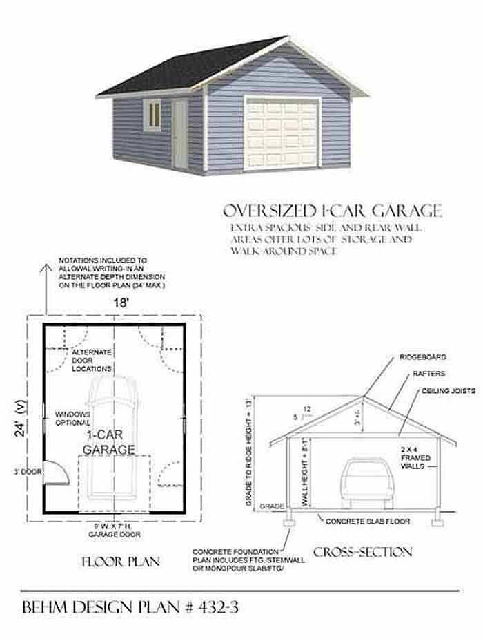 Extra Wide 1 Car Garage Plan 432 3 18 X 24 By Behm Design Garage Shop Plans Garage Plans Garage Decor