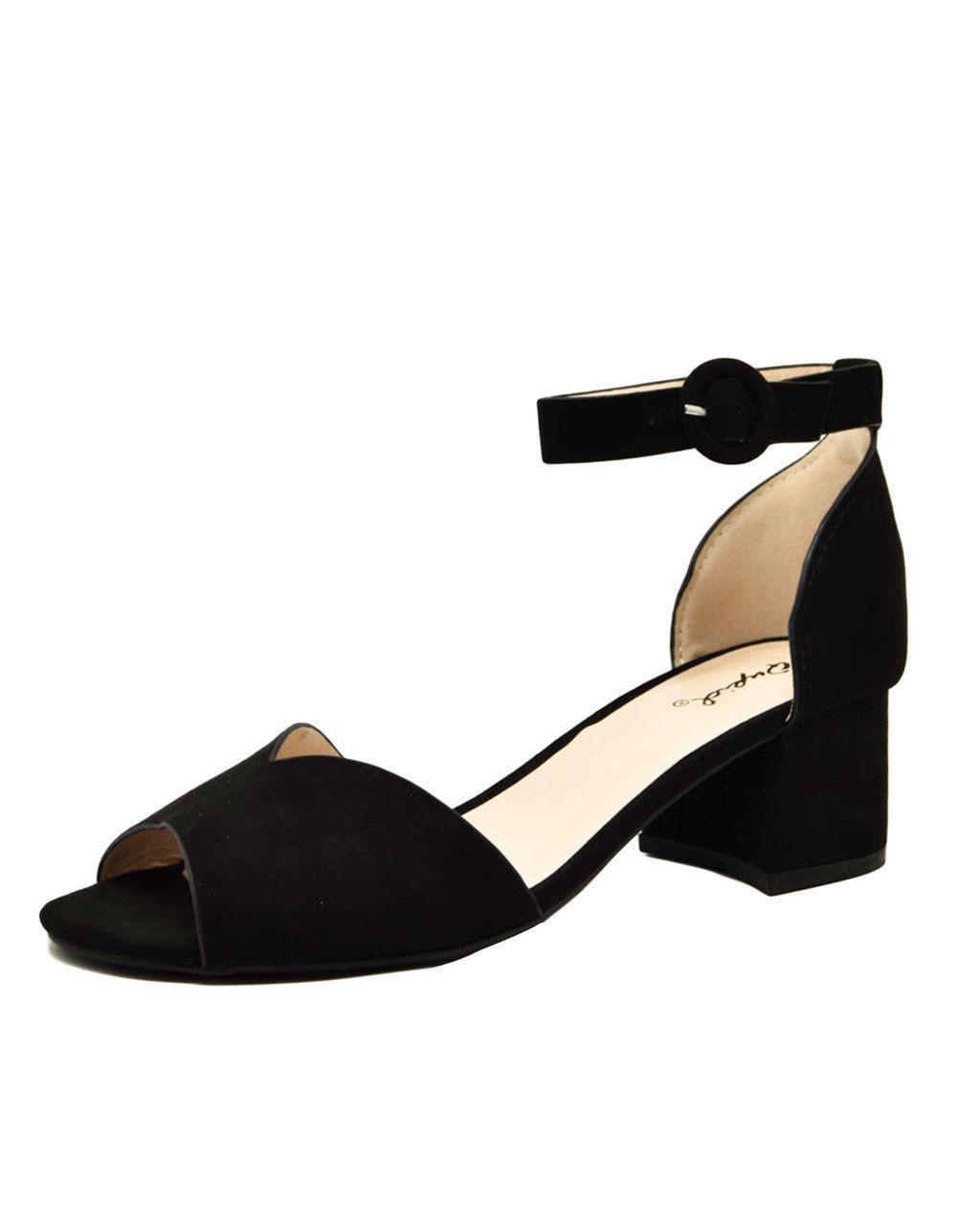 f5ad73202b9 V-Cut Faux Suede Peep Toe Block Heel Sandals in 2019 | Shoes | Heels ...