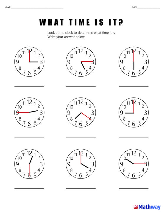 Practice Telling Time With This What Time Is It Worksheet Math