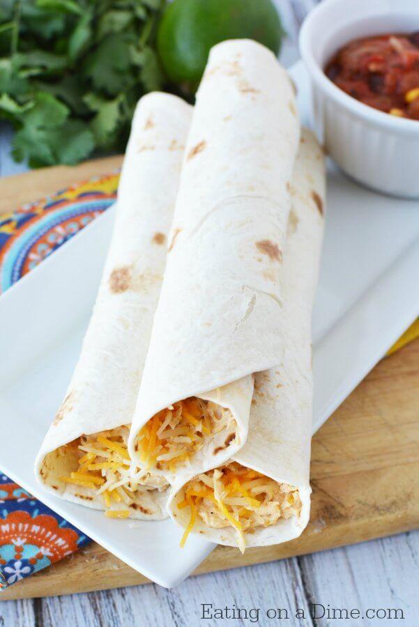 Crockpot Chicken Taquitos Recipe - Easy Taquito Recipe #easycrockpotchicken
