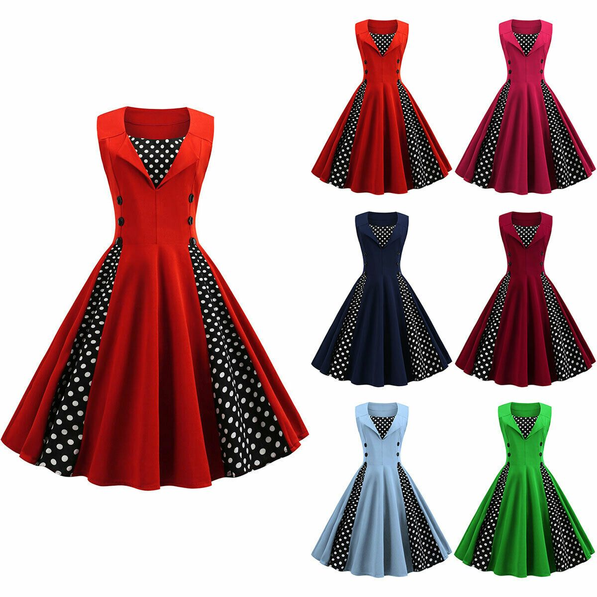 Retro Vintage Style Polka Dot Rockabilly Housewife Evening Party Cocktail Dress Dress Honey In 2020 Cocktail Dress Party Vintage Polka Dot Dress Cocktail Dress Vintage